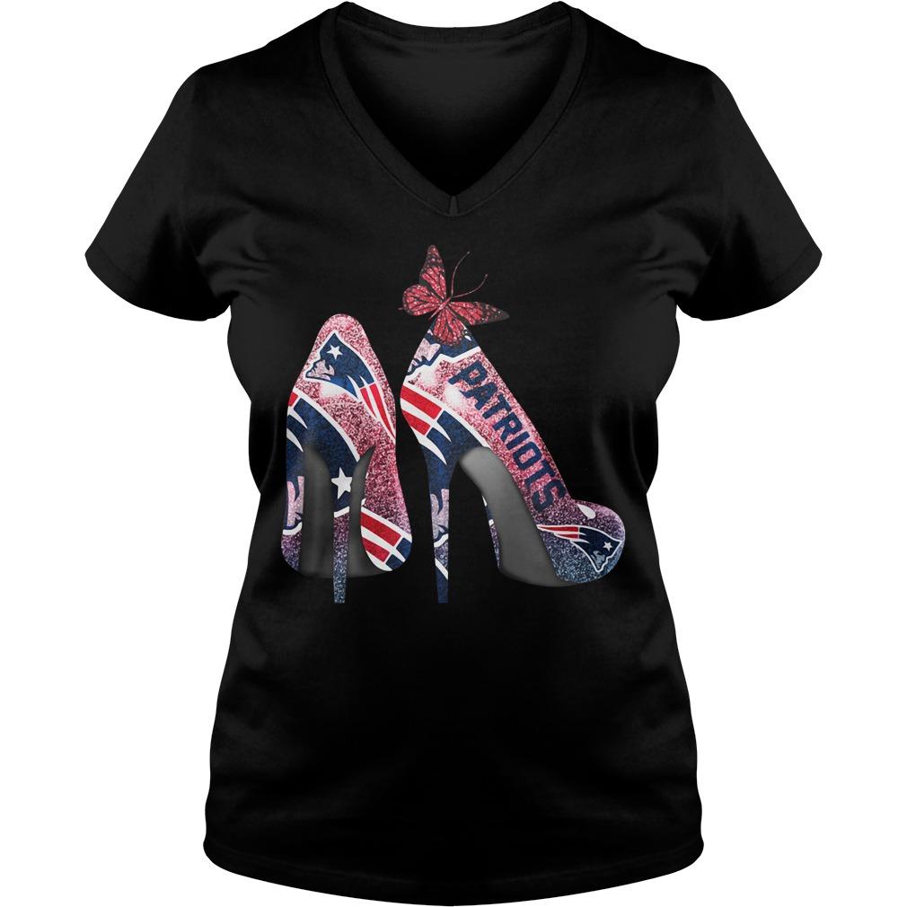 New England Patriots high heels V-neck T-shirt