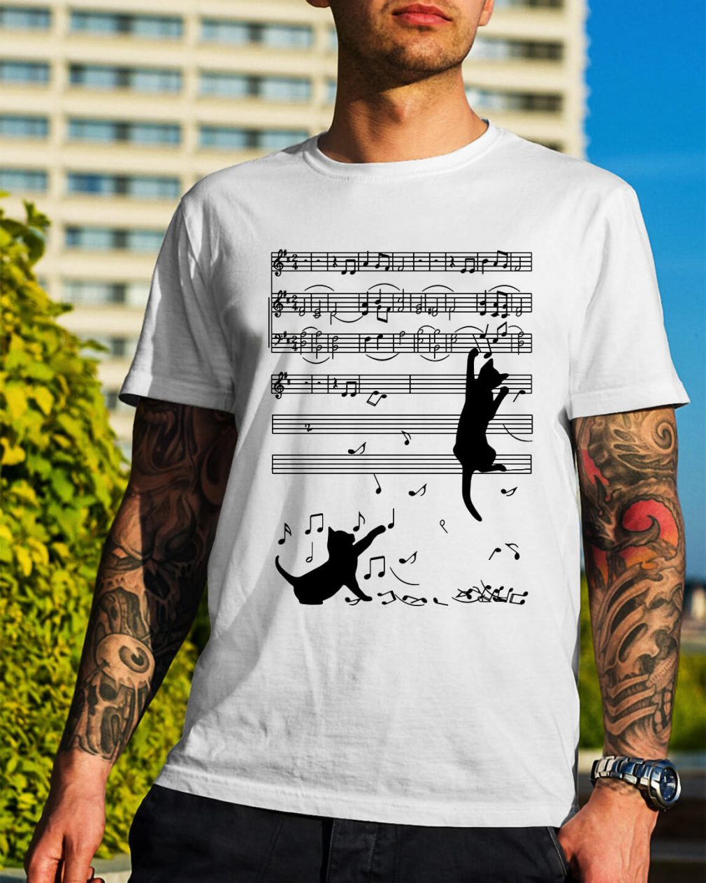 Note music black cat shirt