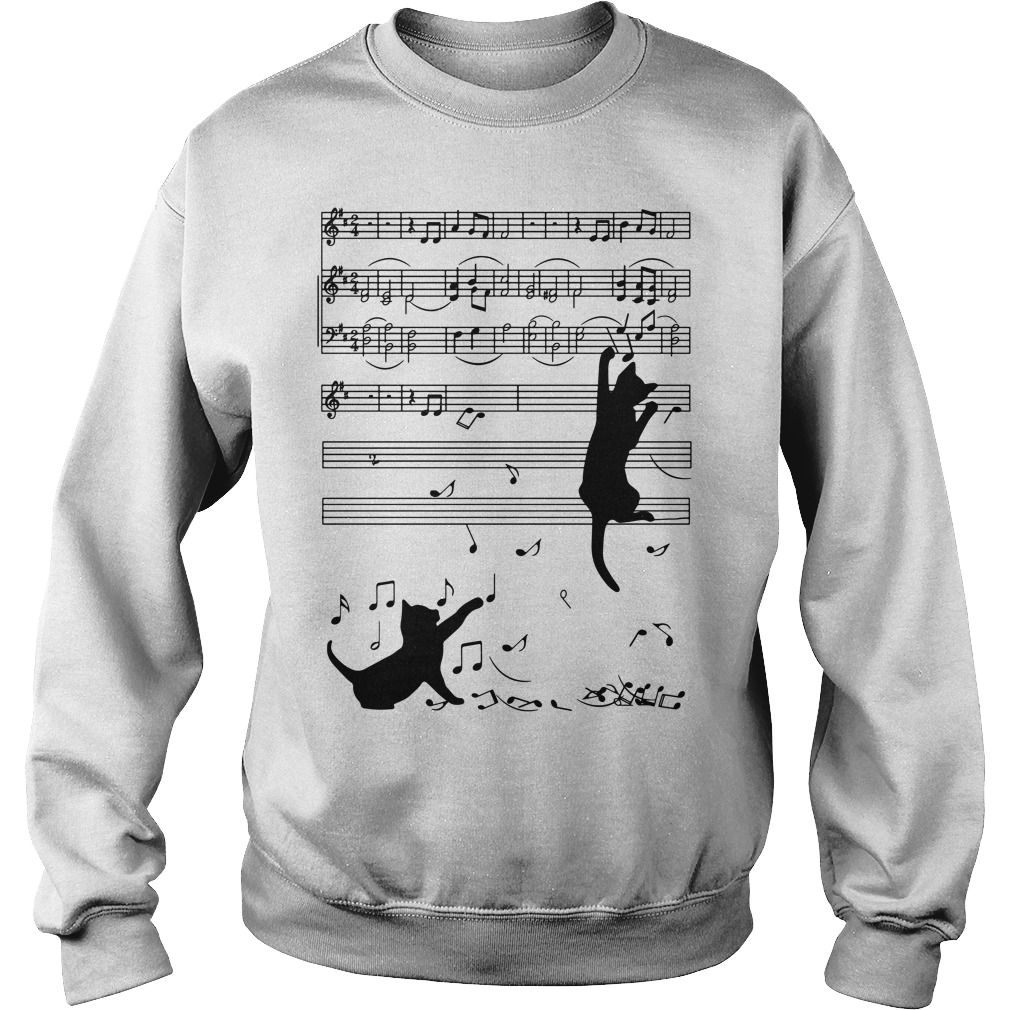 Note music black cat Sweater