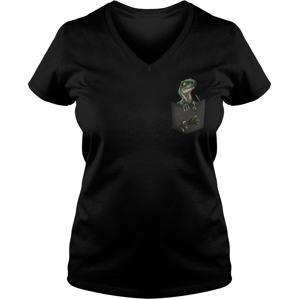 Official Jurassic World Raptor pocket V-neck t-shirt