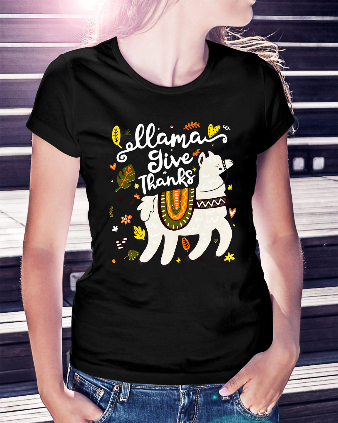 Llama give thanks Ladies Tee