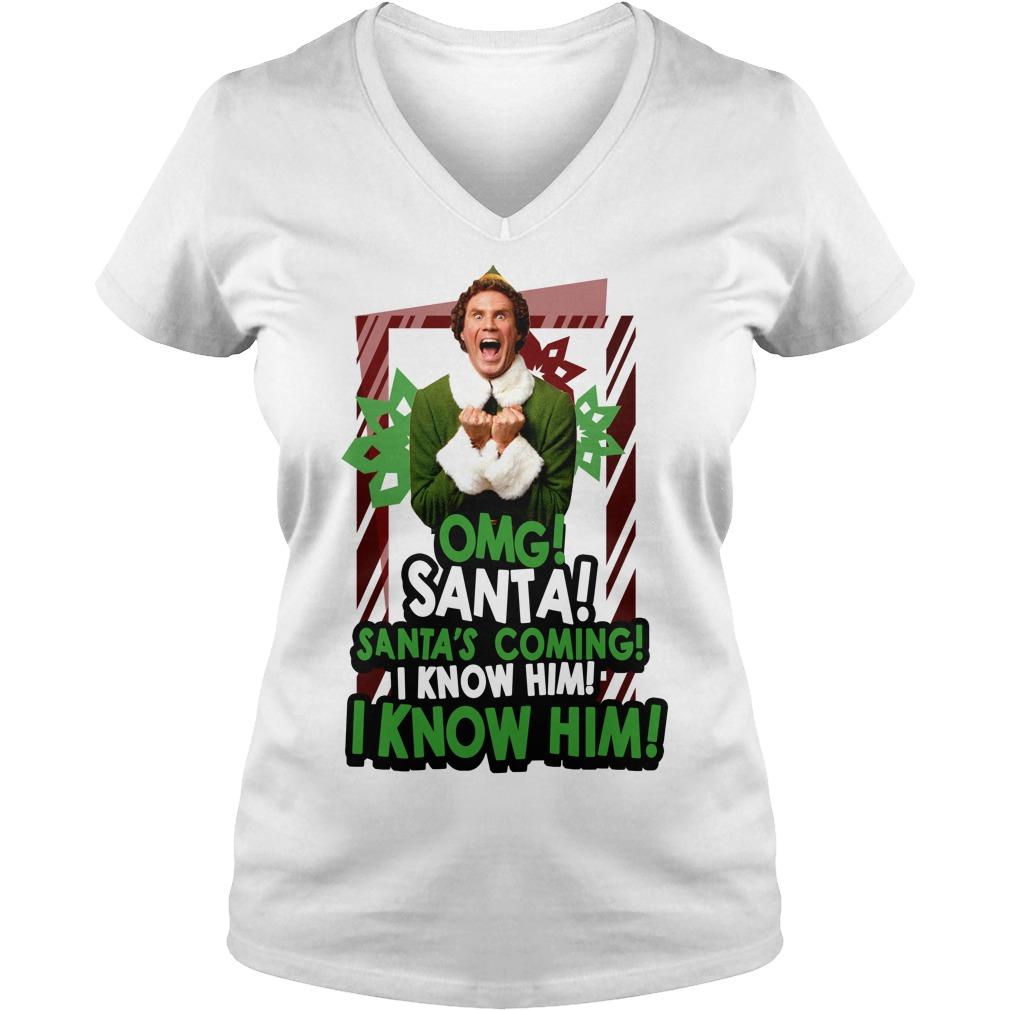 Omg Santa Santa's coming I know him I know him V-neck T-shirt