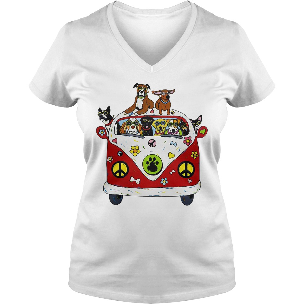 Peace love and hippie dogs V-neck T-shirt