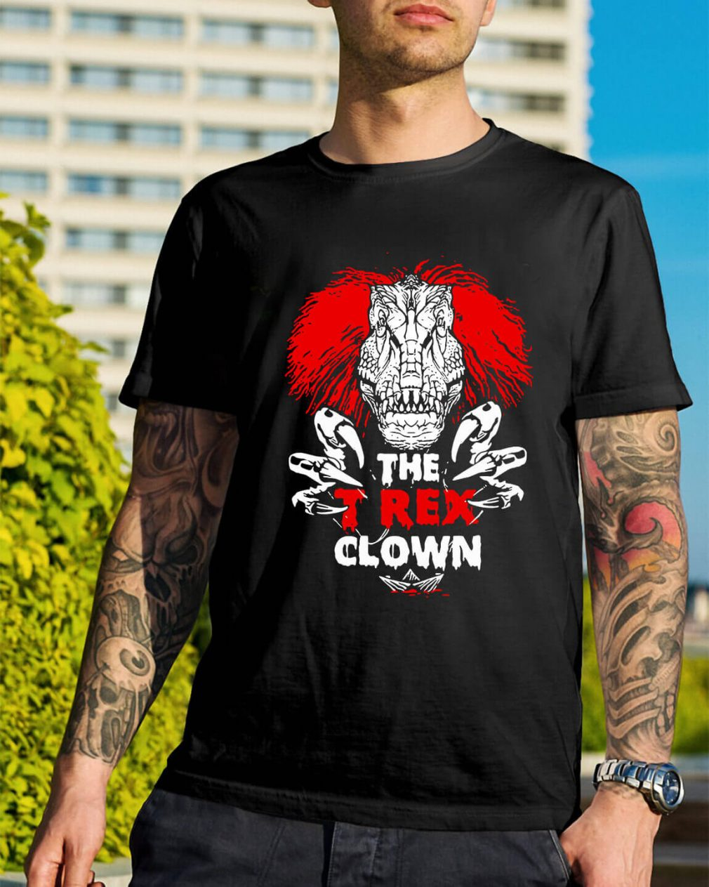 Pennywise the T-rex clown shirt