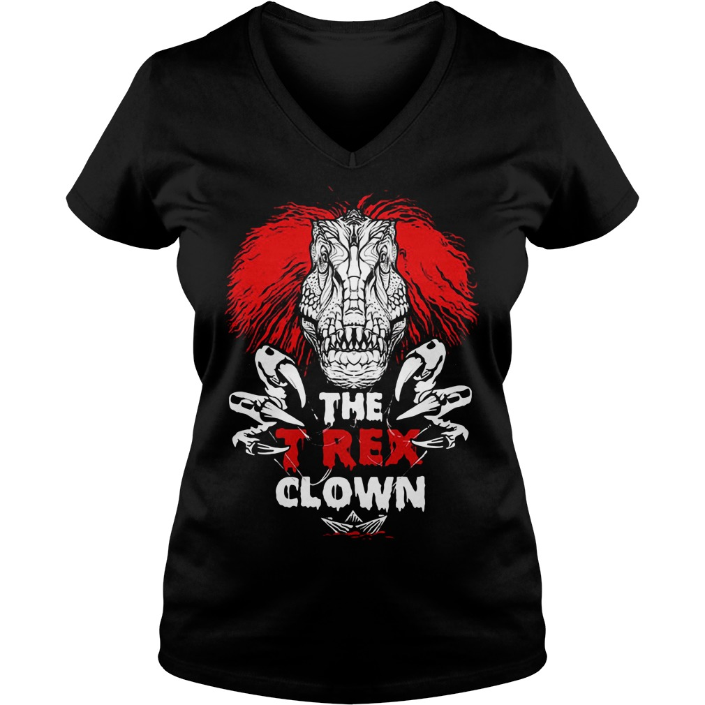 Pennywise the T-rex clown V-neck T-shirt