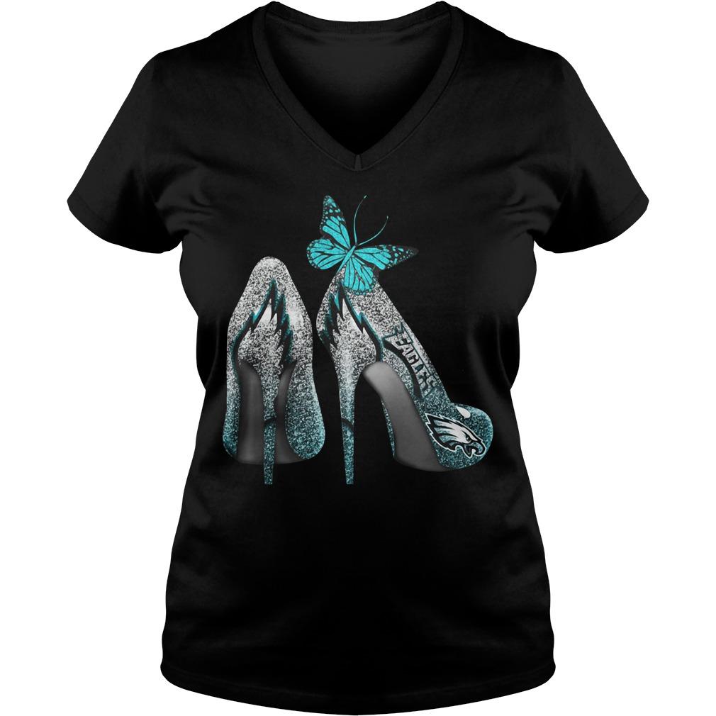Philadelphia Eagles high heels V-neck T-shirt