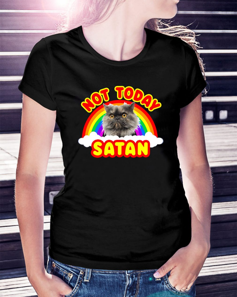 Rainbow Cat death metal not today Satan Ladies Tee