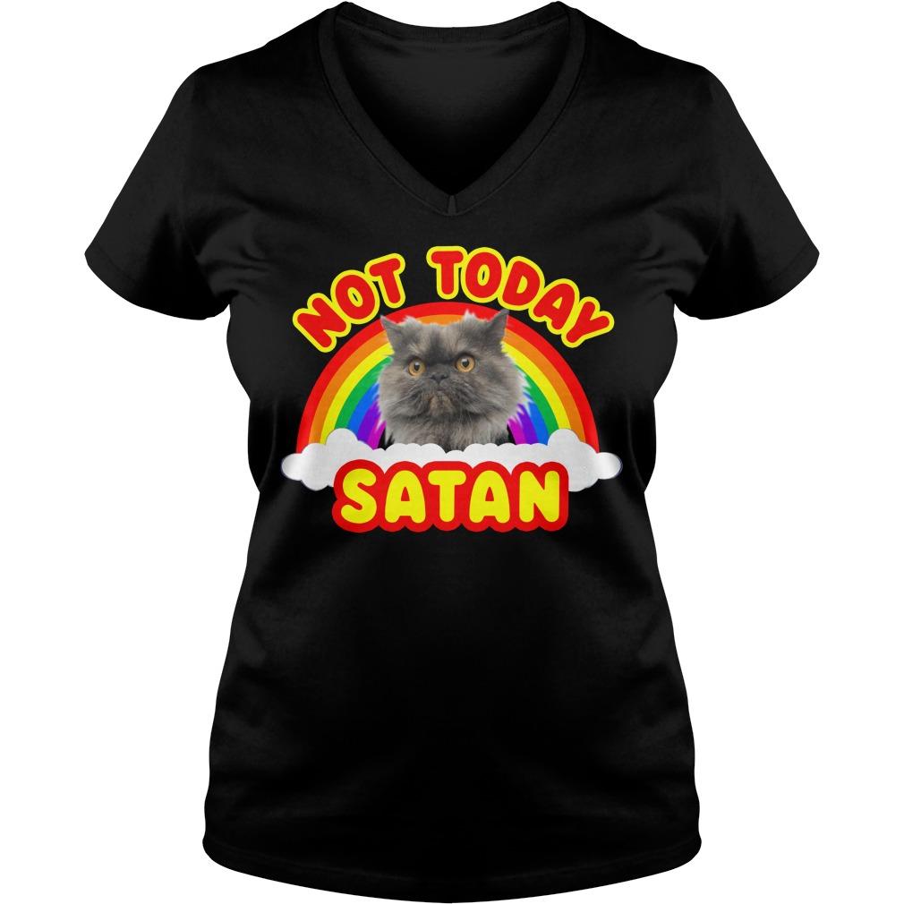 Rainbow Cat death metal not today Satan V-neck T-shirt