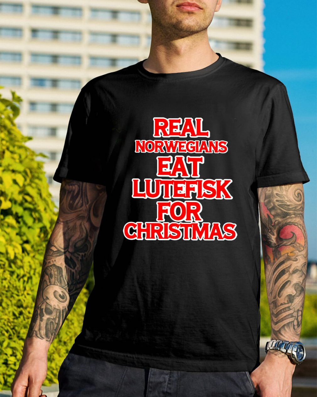 Real Norwegians eat lutefisk for Christmas Guys Shirt