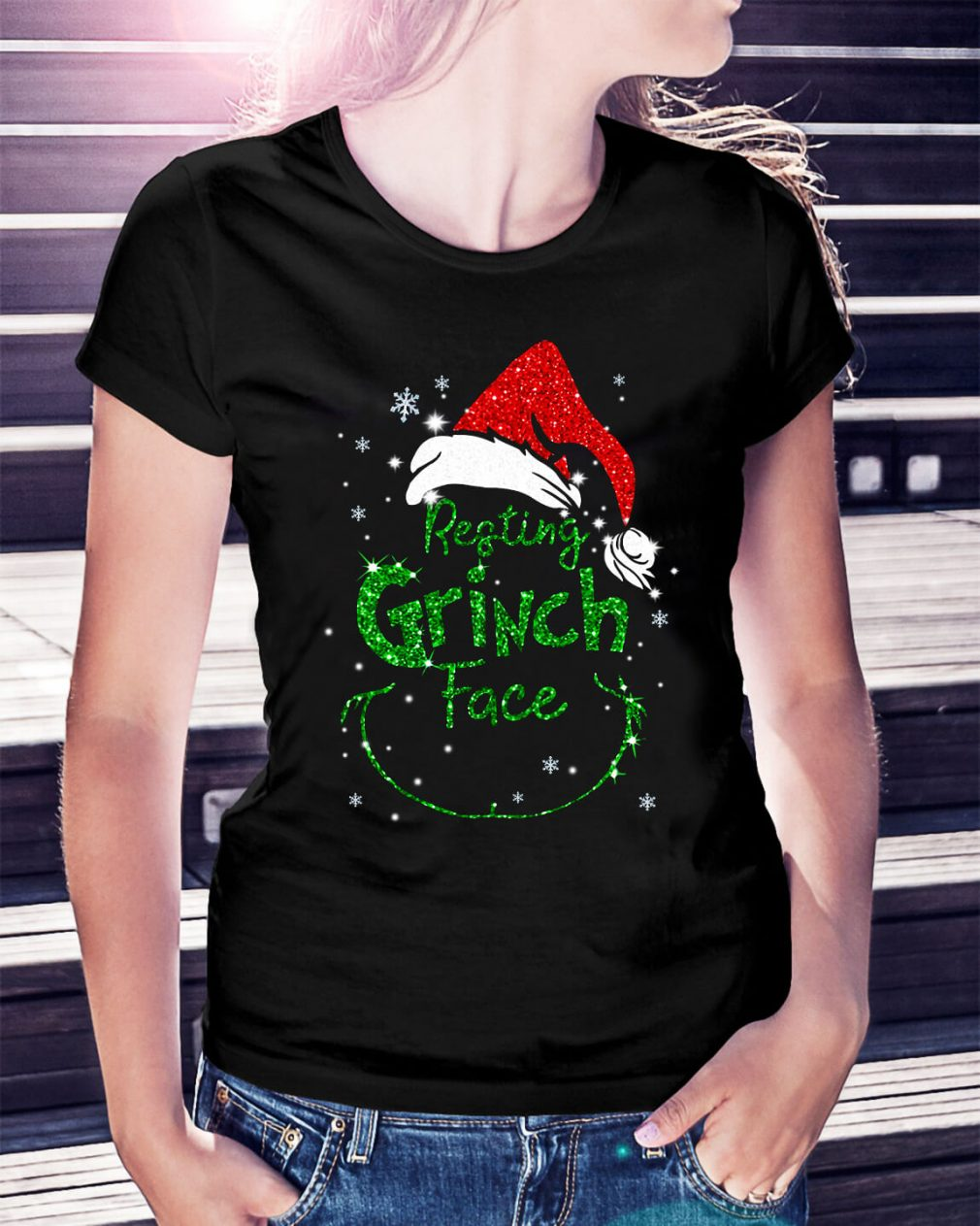 Resting Grinch face Ladies Tee
