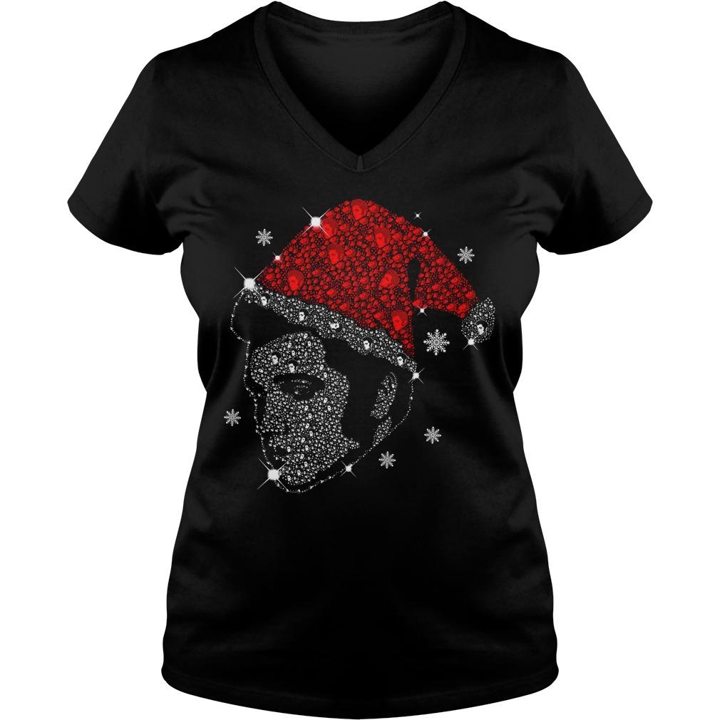 Rhinestone Christmas Elvis Presley V-neck T-shirt