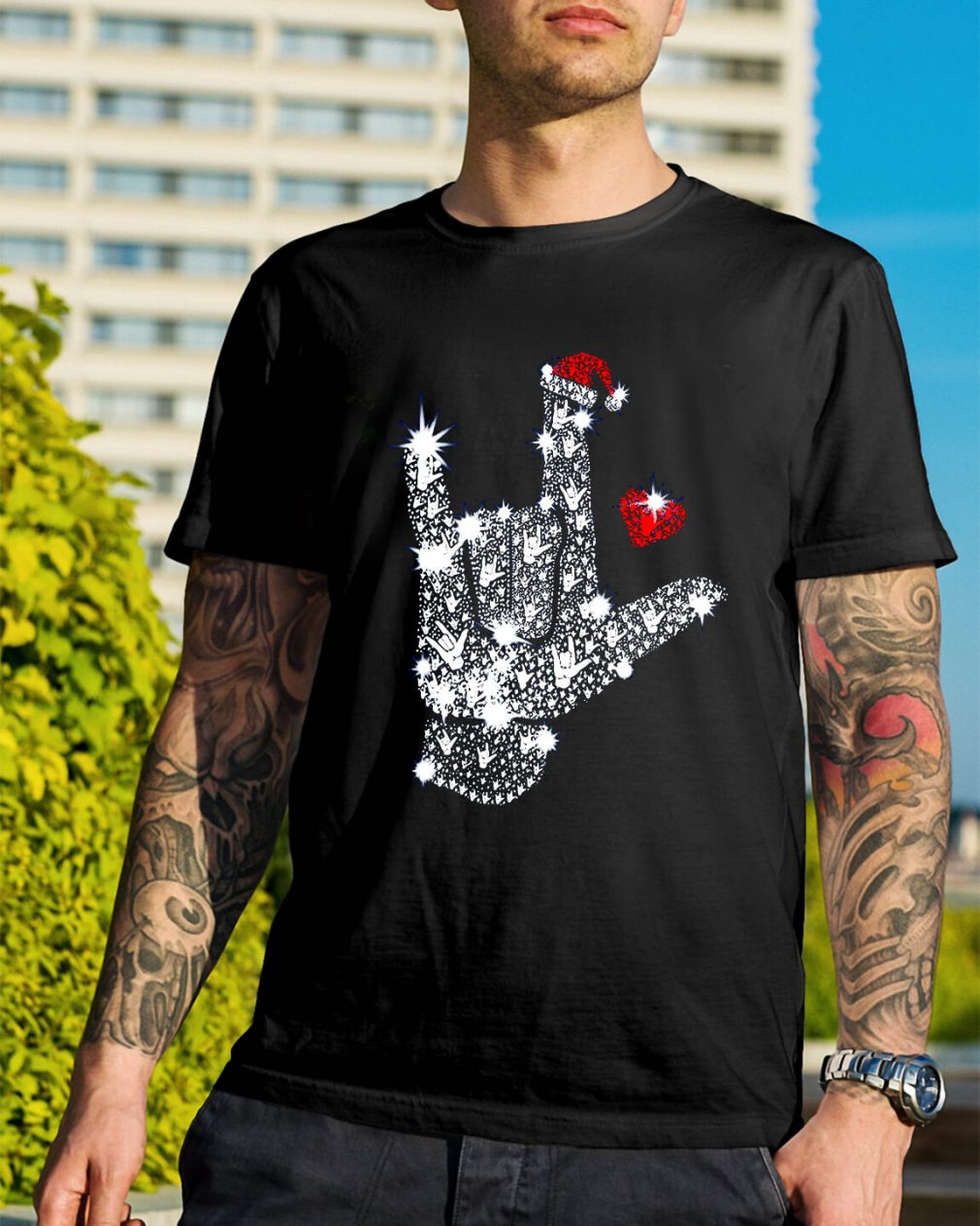 Rock on hand sign Rhinestone Christmas Guys Shirt