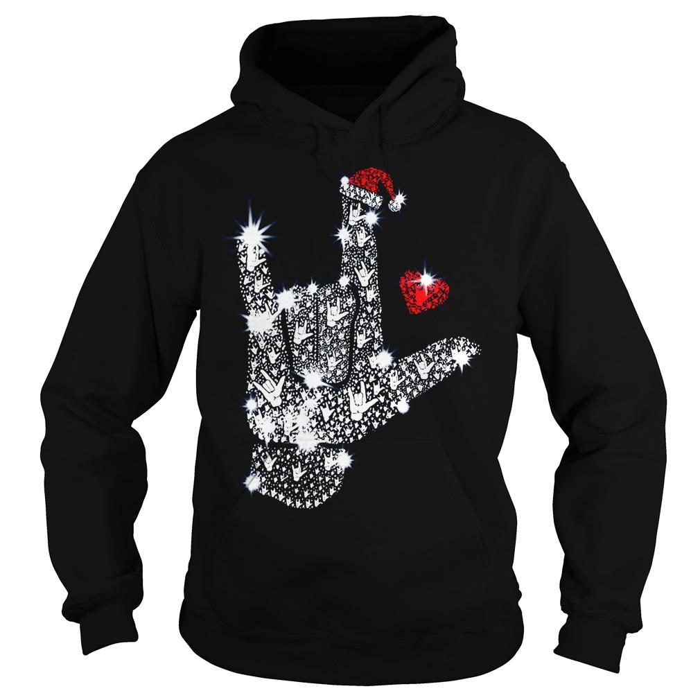 Rock on hand sign Rhinestone Christmas Hoodie