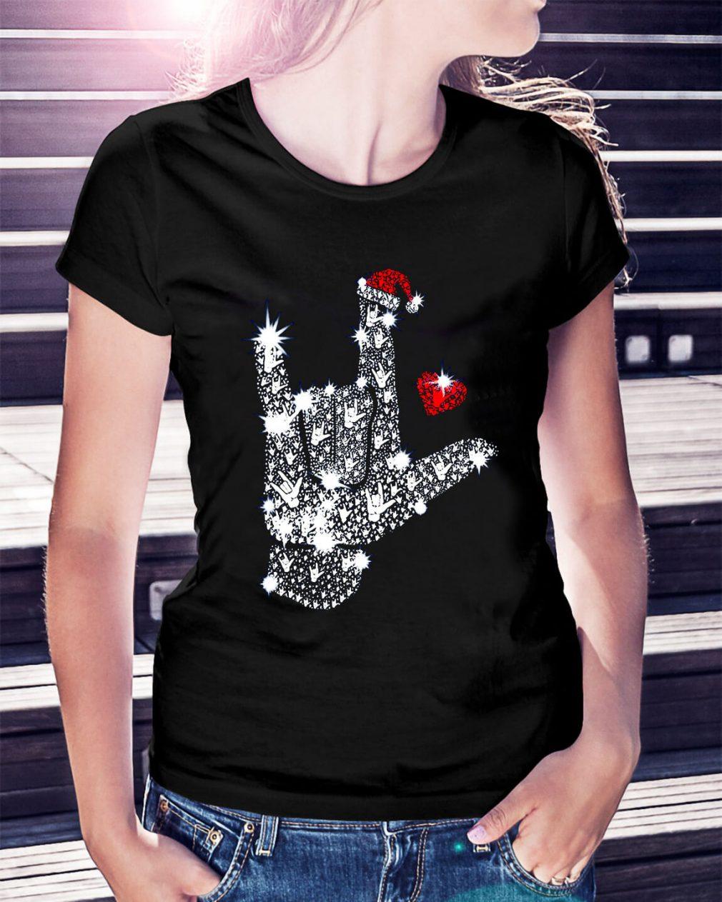 Rock on hand sign Rhinestone Christmas Ladies Tee