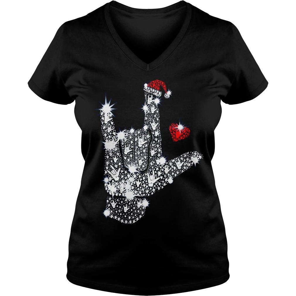 Rock on hand sign Rhinestone Christmas V-neck T-shirt
