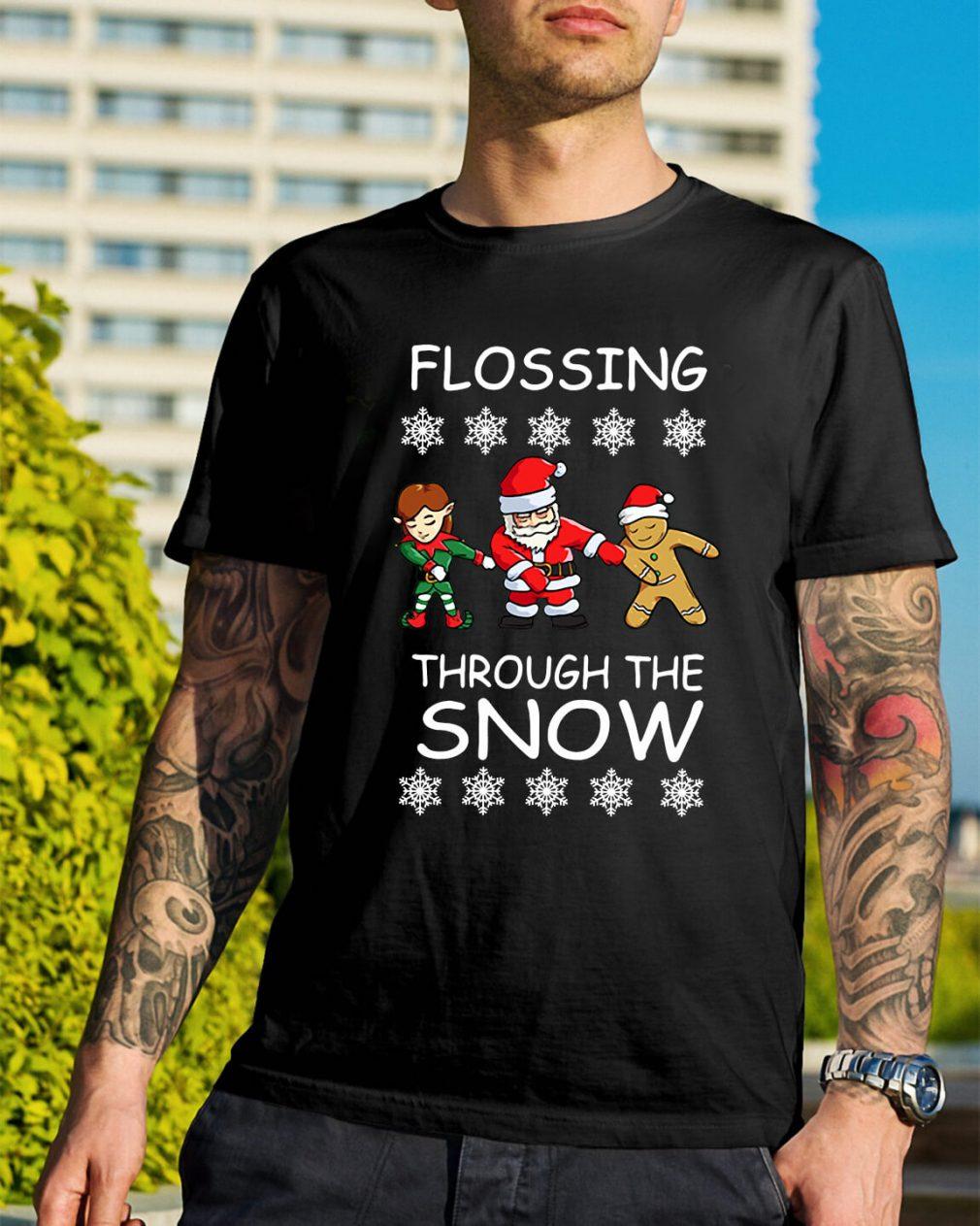 Santa Floss Christmas Flossing through the snow Guys Shirt