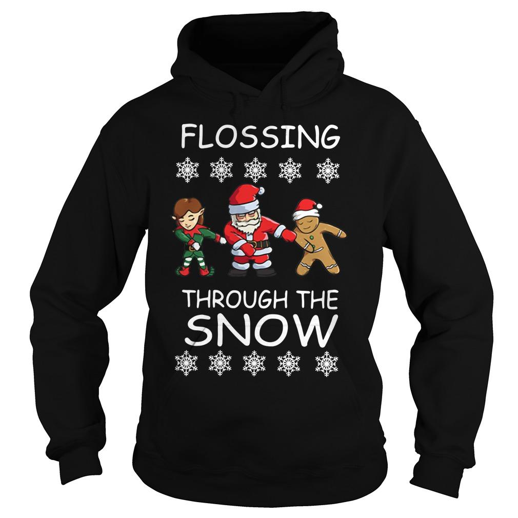 Santa Floss Christmas Flossing through the snow Hoodie