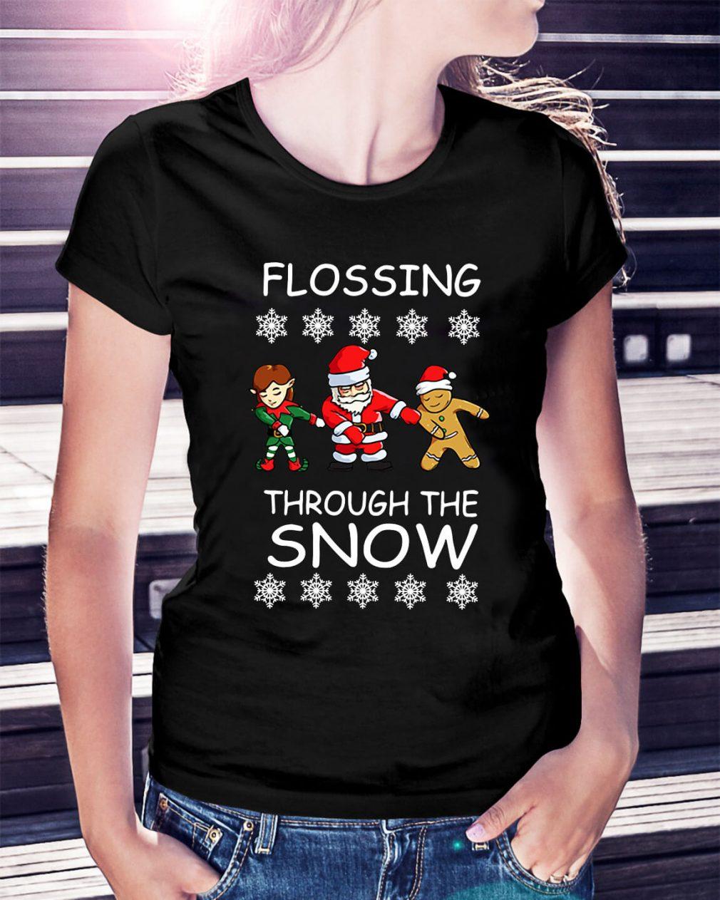 Santa Floss Christmas Flossing through the snow Ladies Tee