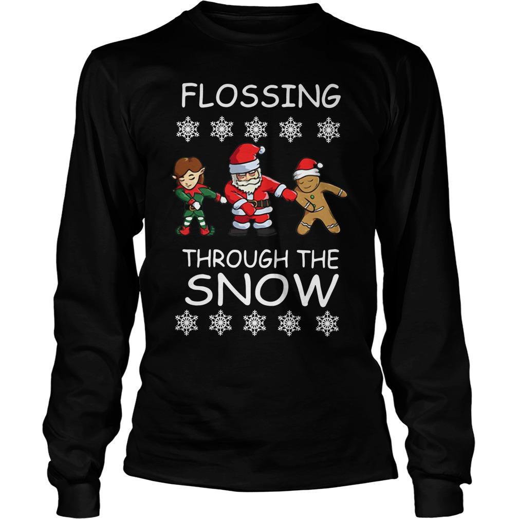 Santa Floss Christmas Flossing through the snow Longsleeve Tee