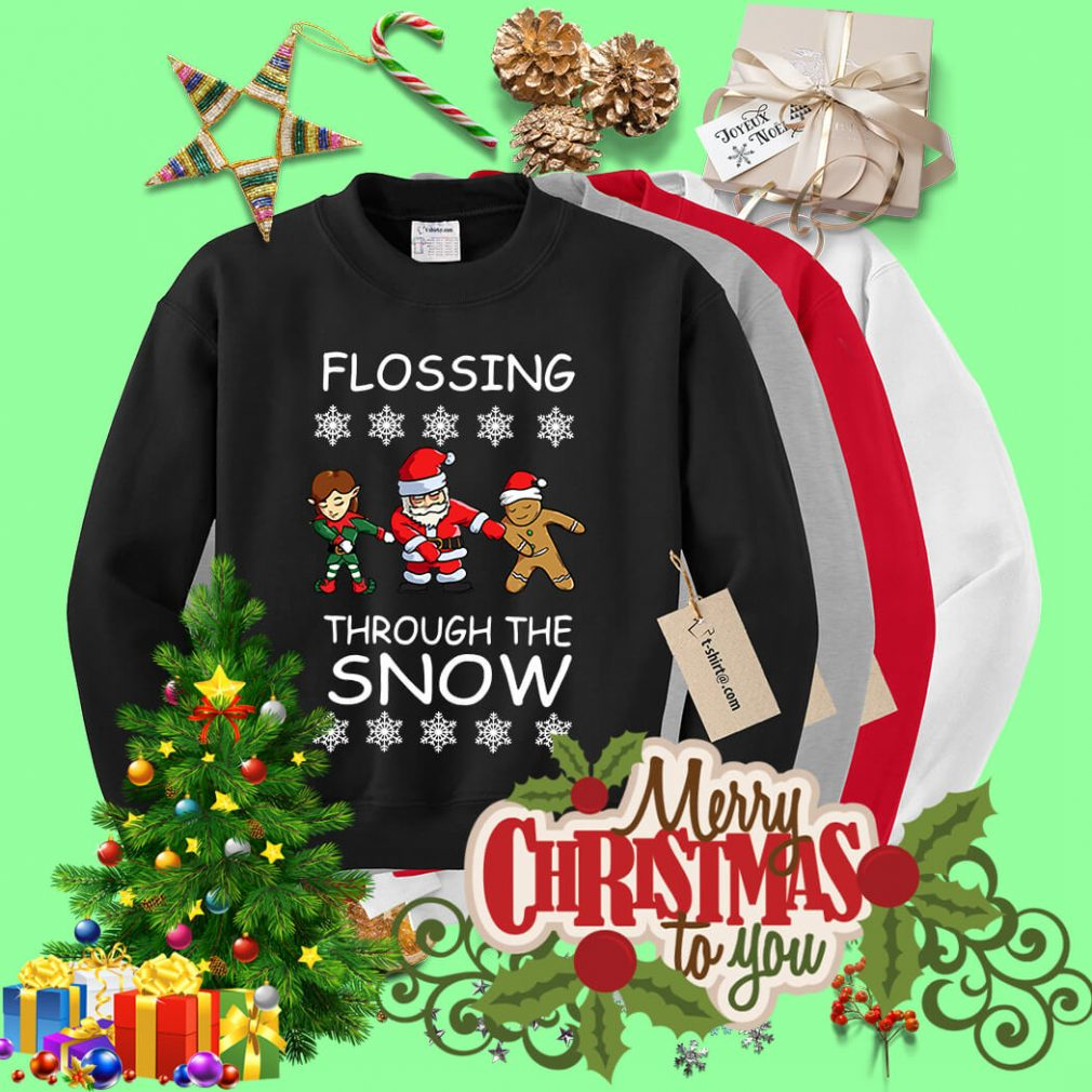 Santa Floss Christmas Flossing through the snow shirt, sweater