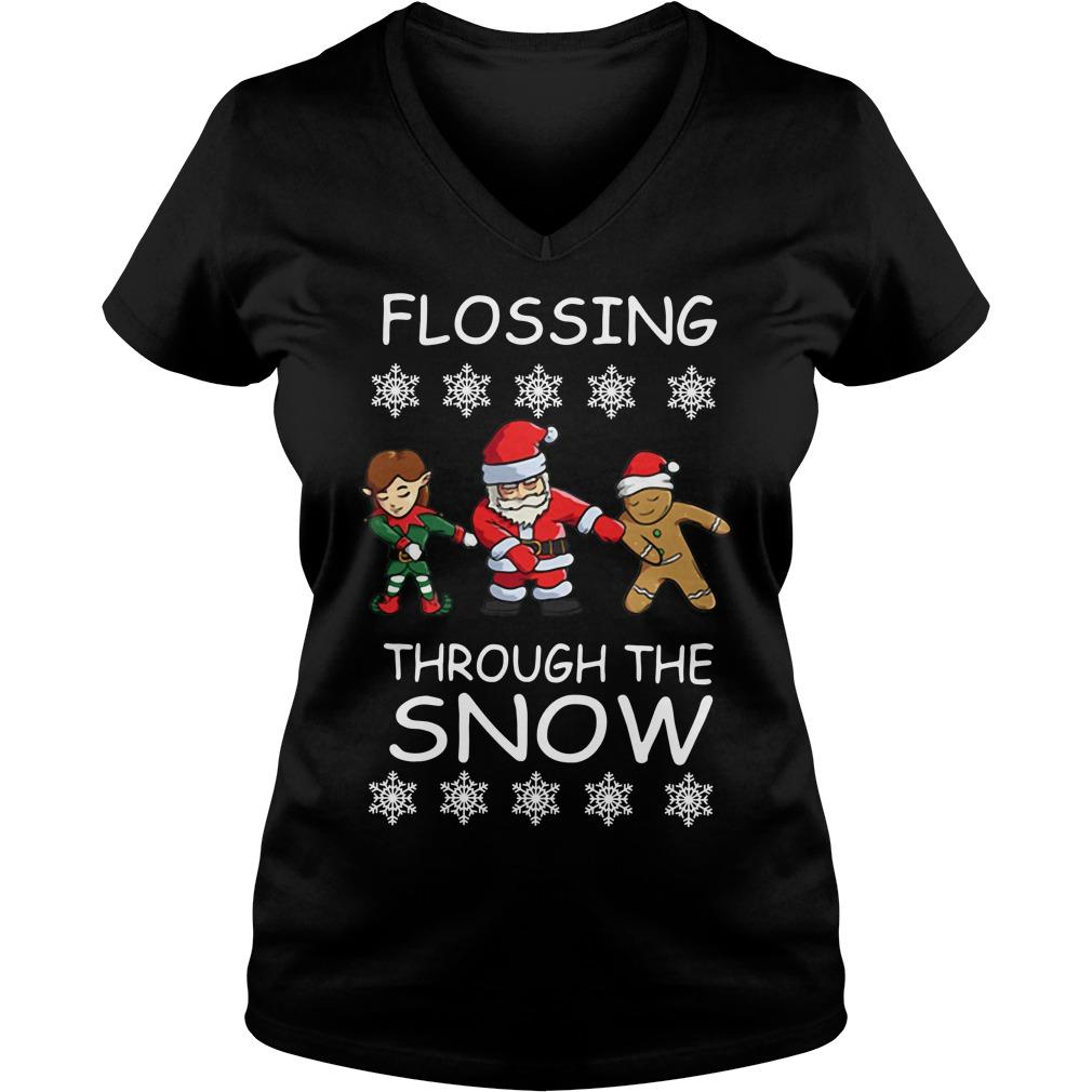 Santa Floss Christmas Flossing through the snow V-neck T-shirt