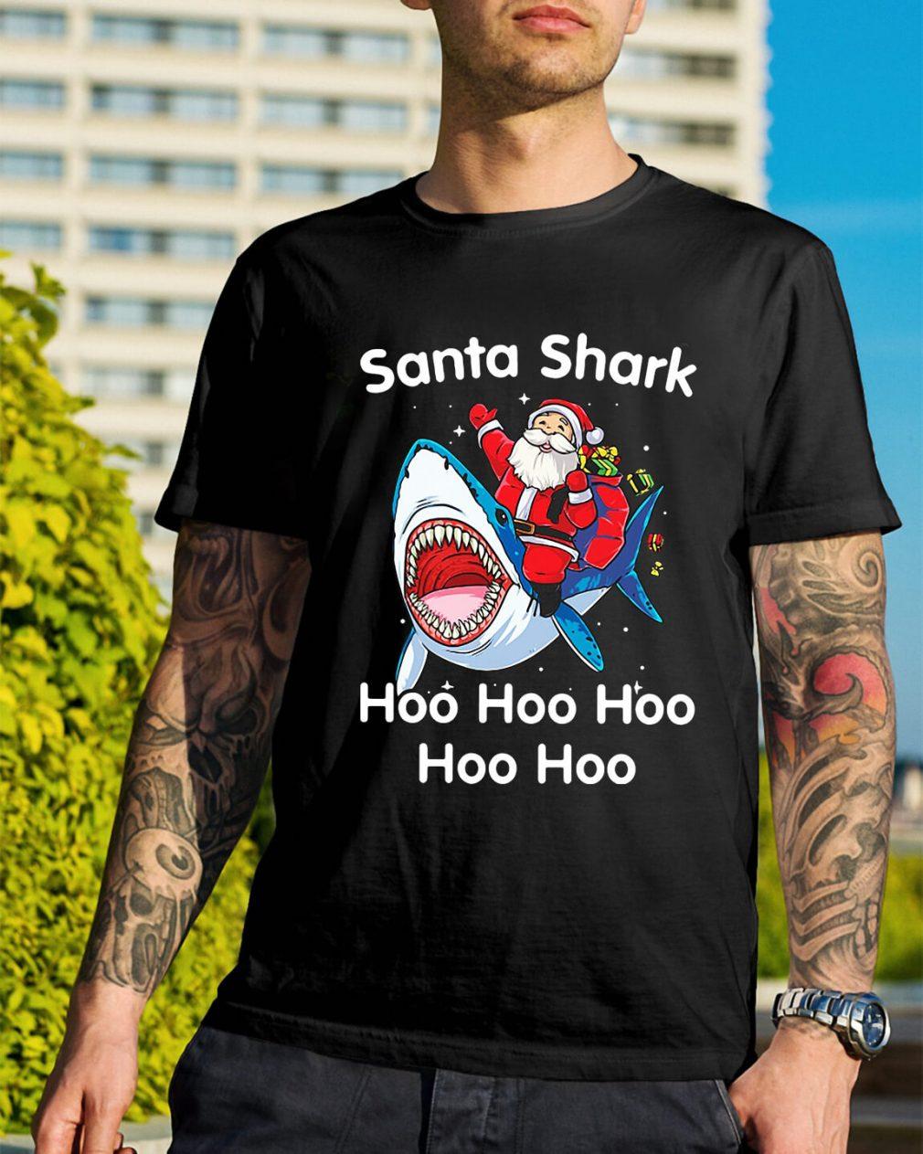 Santa shark hoo hoo hoo hoo hoo Christmas Guys Shirt