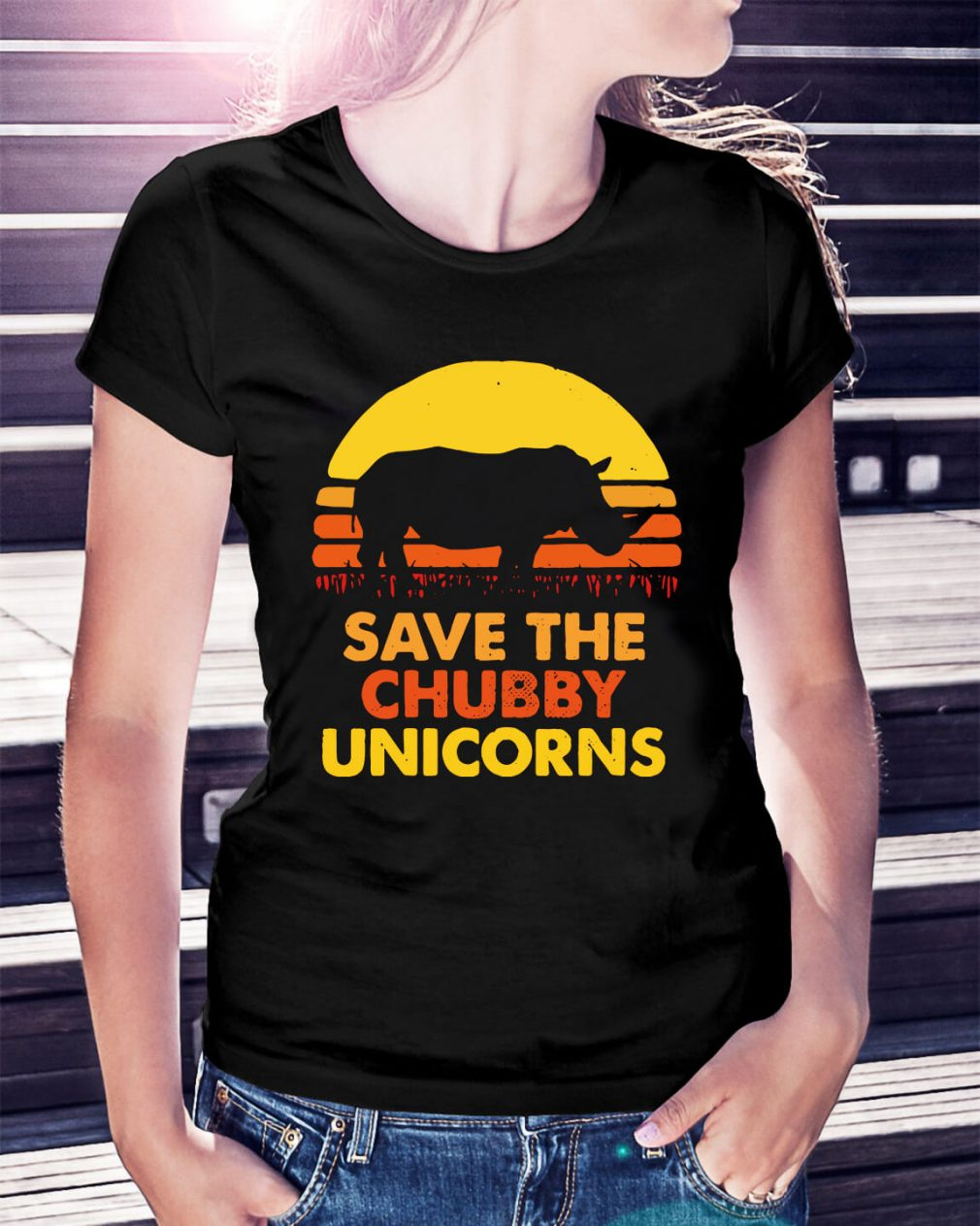 Save the chubby unicorns Ladies Tee