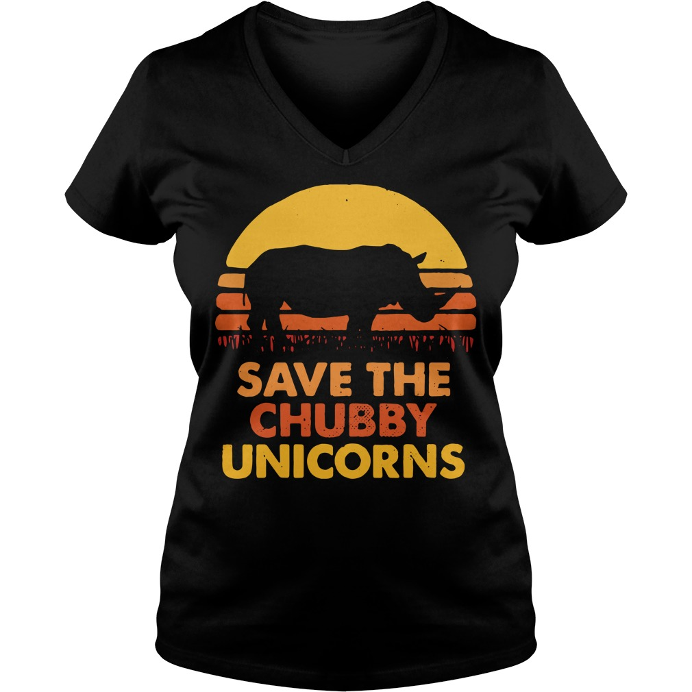 Save the chubby unicorns V-neck T-shirt