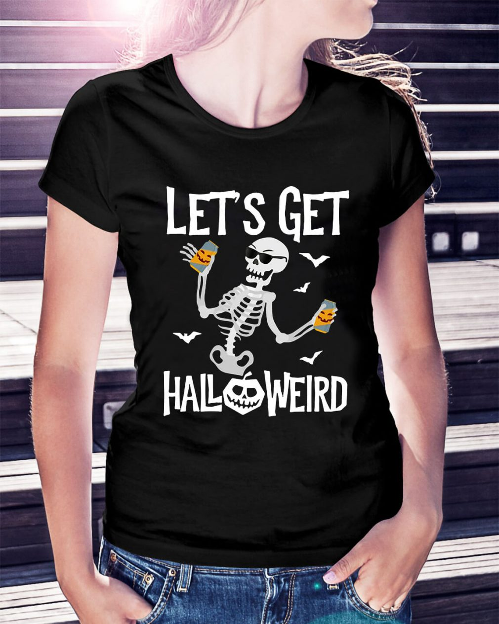 Skeleton let's get Halloweird Ladies Tee