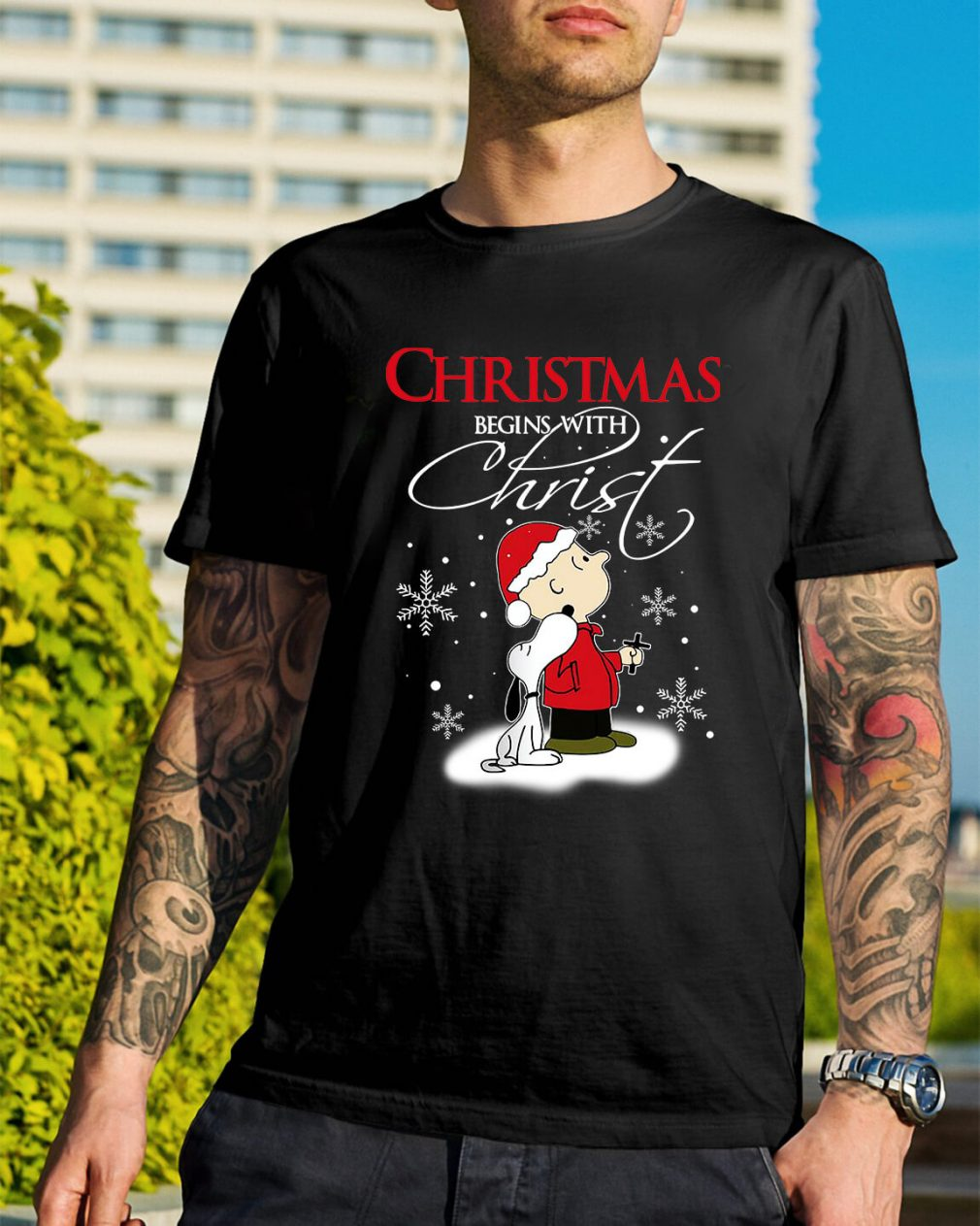 Snoopy and Charlie Christmas begin with Christ Guys Shirt
