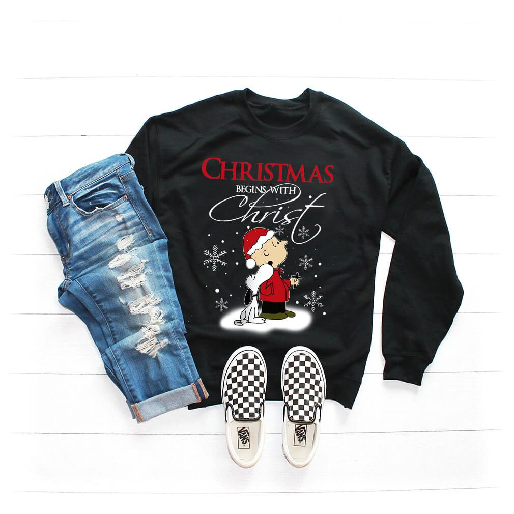 Snoopy and Charlie Christmas begin with Christ sweater