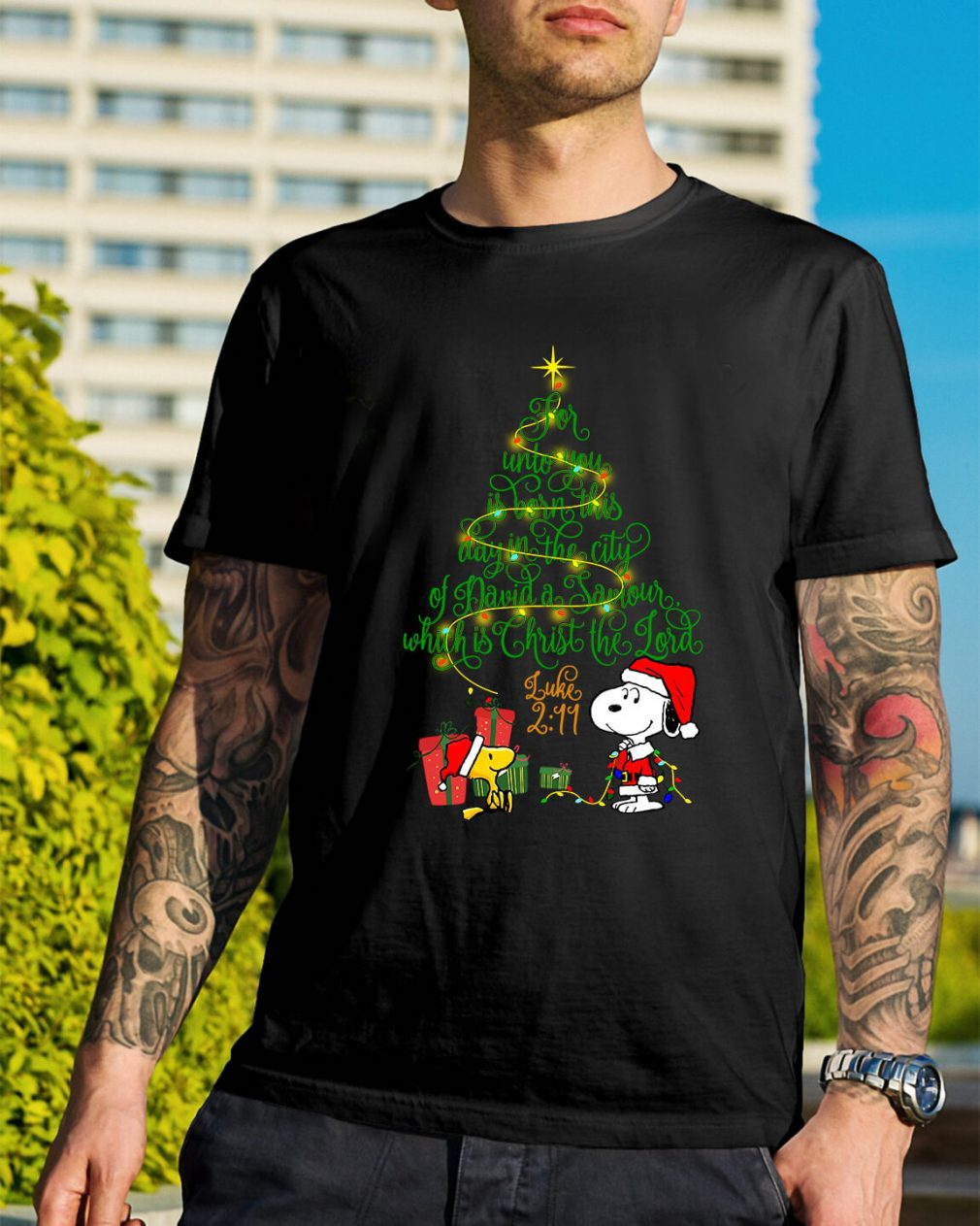 Snoopy Woodstock Christmas tree for unto you is born Guys Shirt