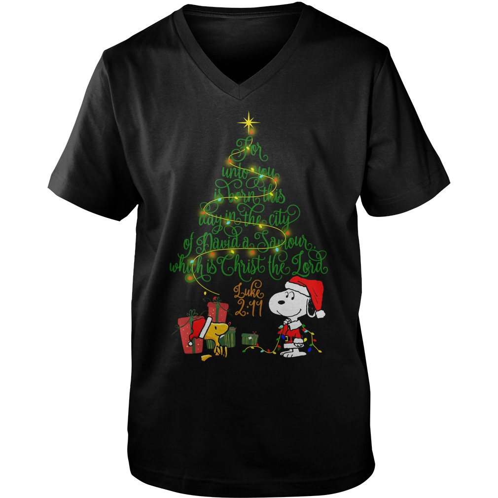 Snoopy Woodstock Christmas tree for unto you is born Guys V-neck