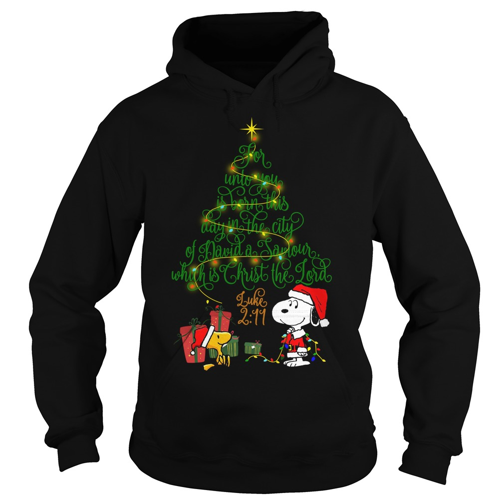 Snoopy Woodstock Christmas tree for unto you is born Hoodie