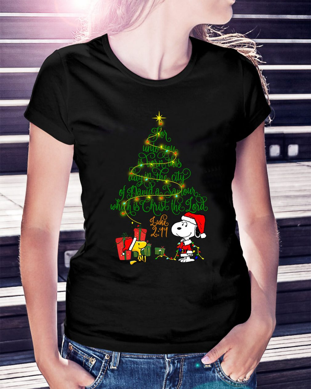 Snoopy Woodstock Christmas tree for unto you is born Ladies Tee