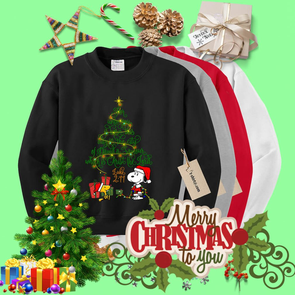 Snoopy Woodstock Christmas tree for unto you is born shirt, sweater