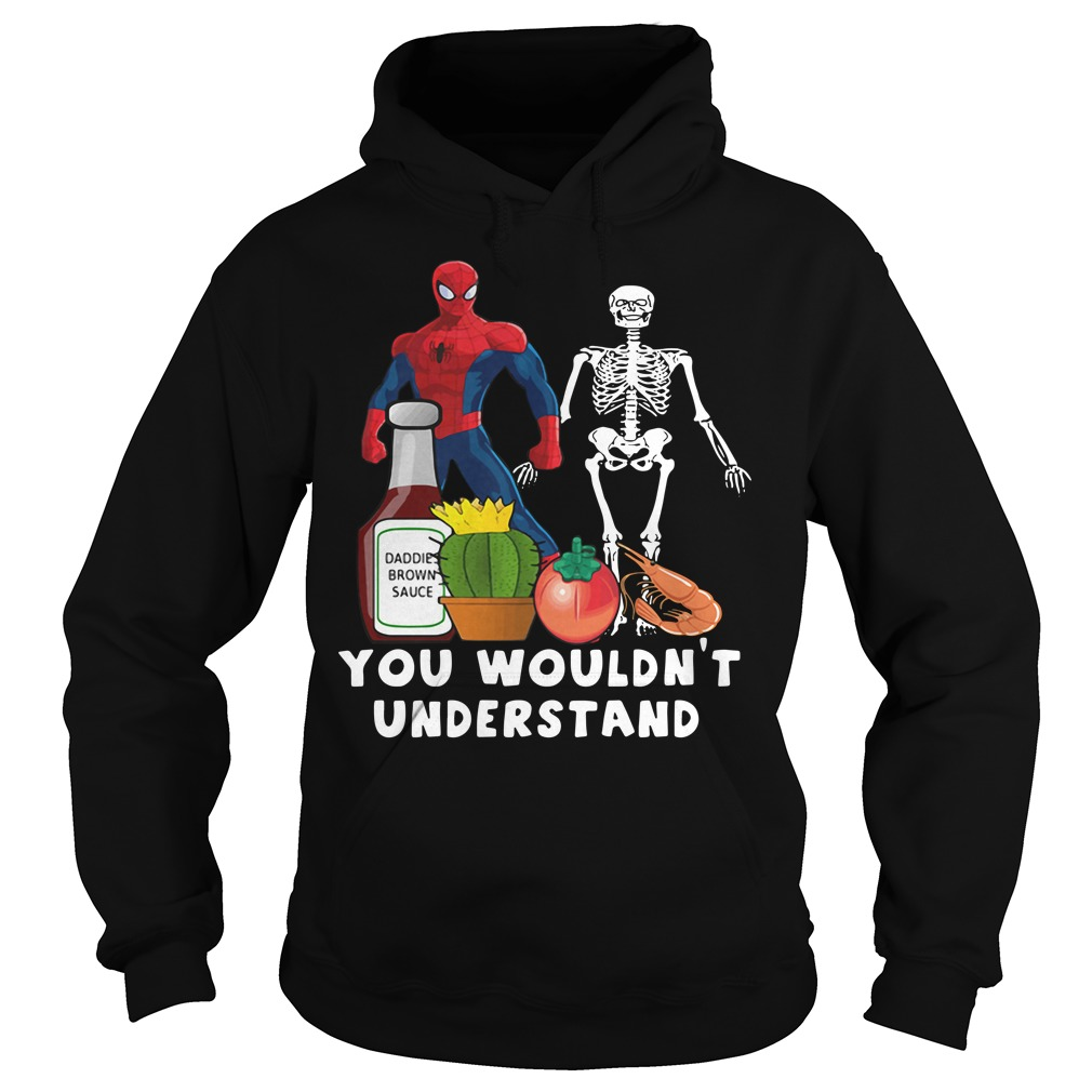 Spider Man and Skeleton daddie brown sauce Hoodie