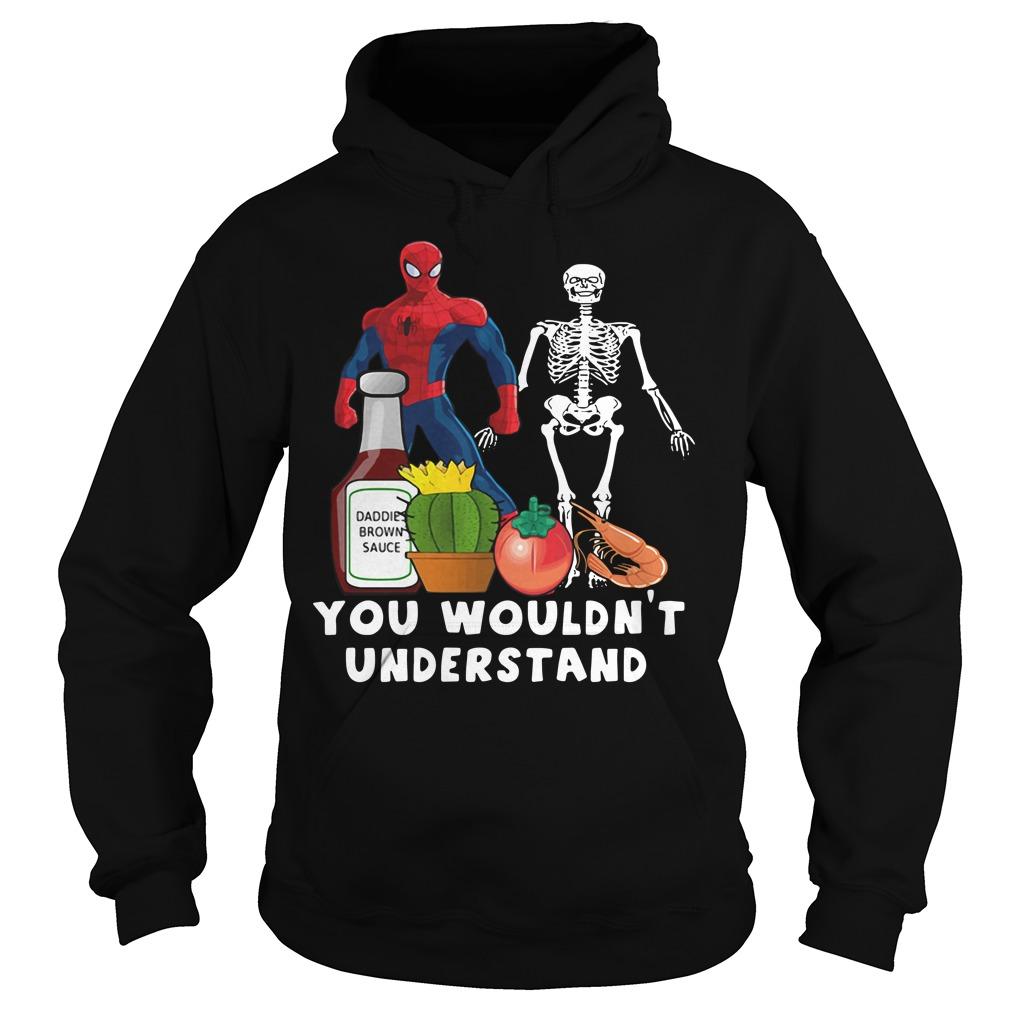 Spider Man and Skeleton daddie brown sauce Hoodie