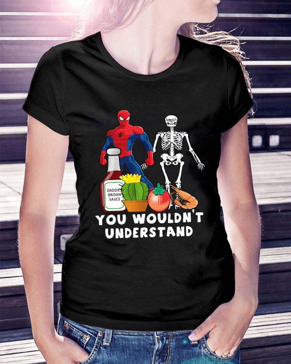 Spider Man and Skeleton daddie brown sauce Ladies Tee