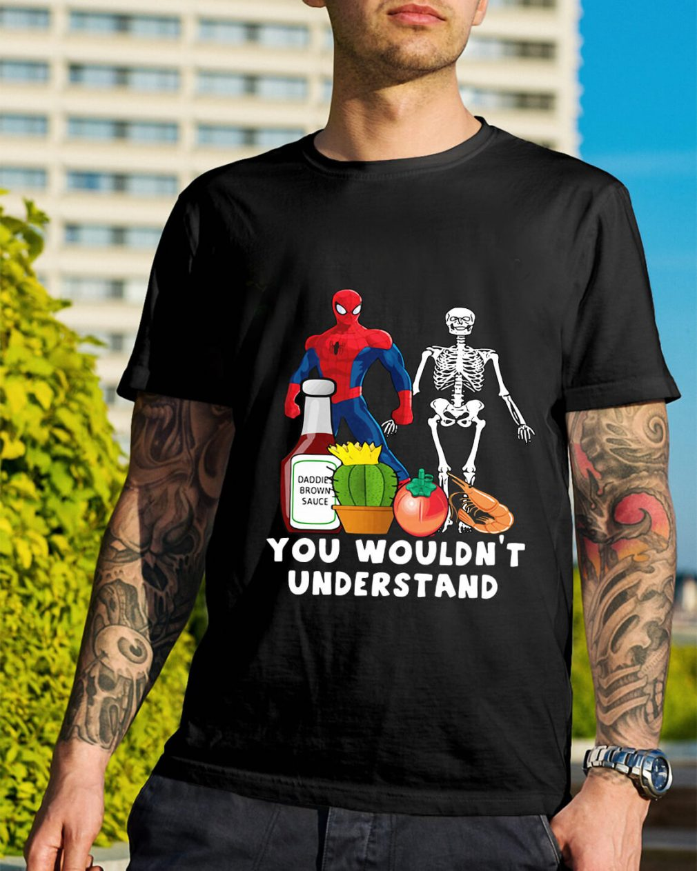 Spider Man and Skeleton daddie brown sauce shirt