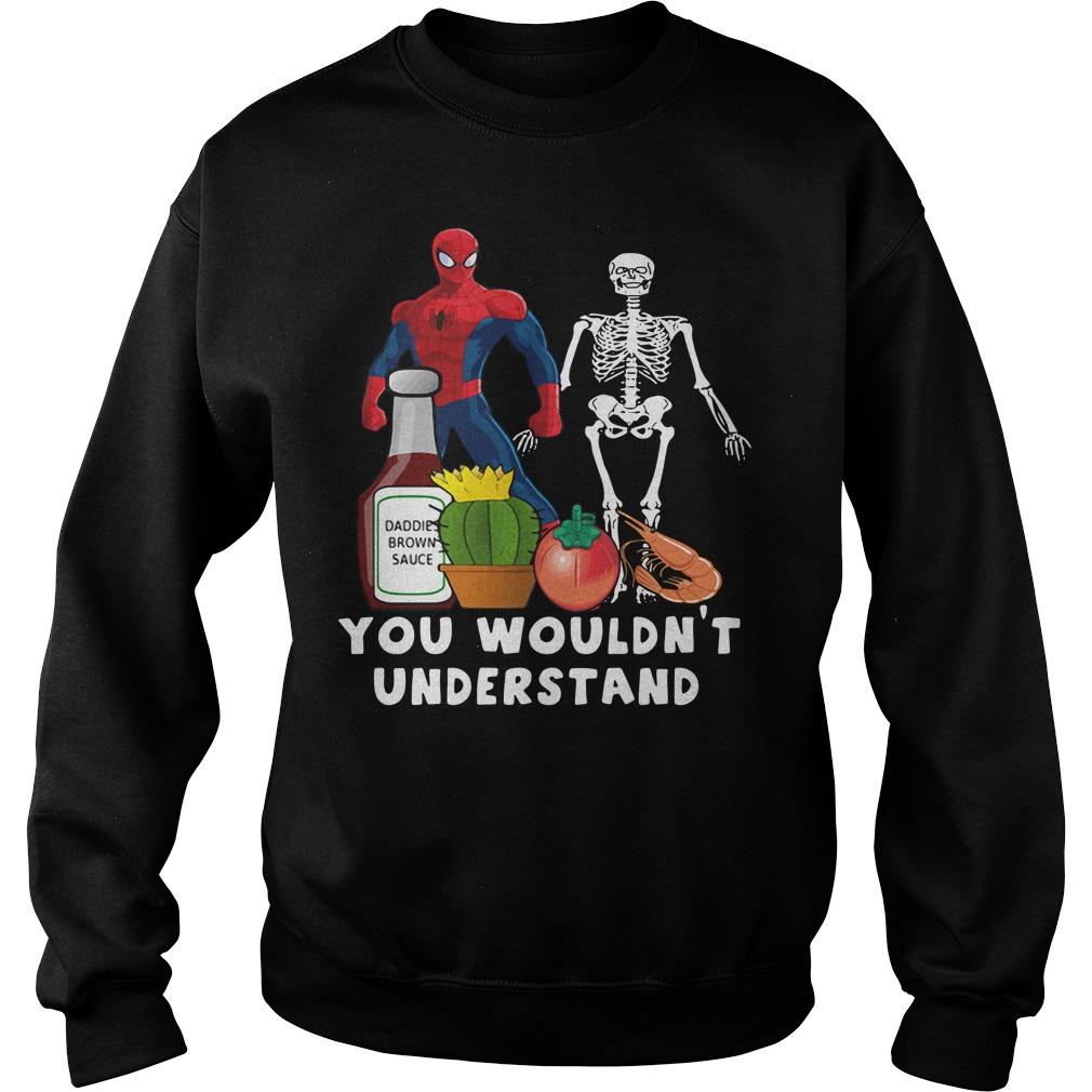 Spider Man and Skeleton daddie brown sauce Sweater