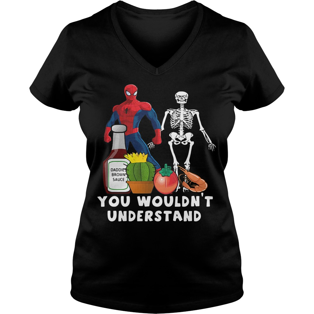 Spider Man and Skeleton daddie brown sauce V-neck T-shirt