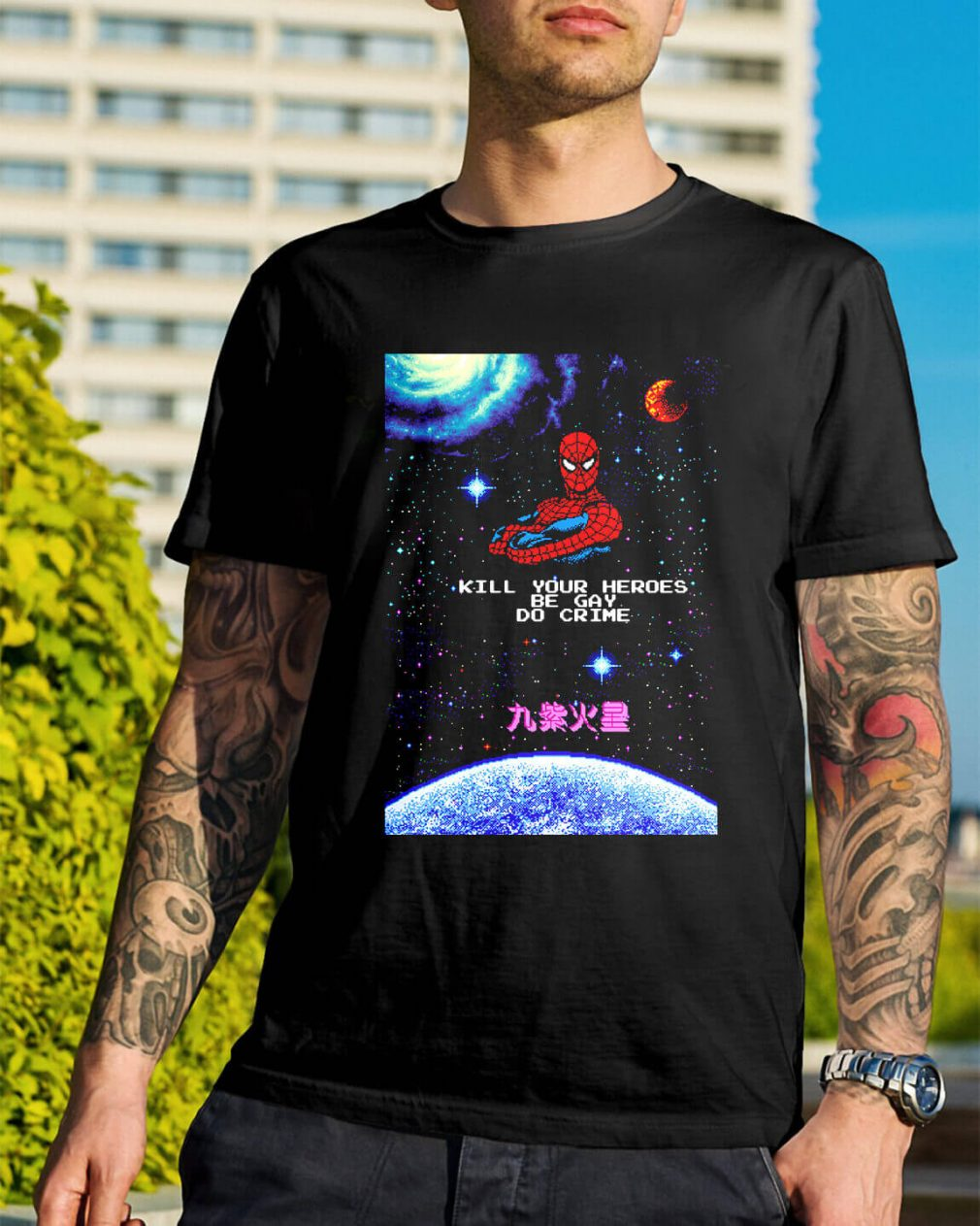 Spiderman kill your heroes be gay do crime Guys Shirt