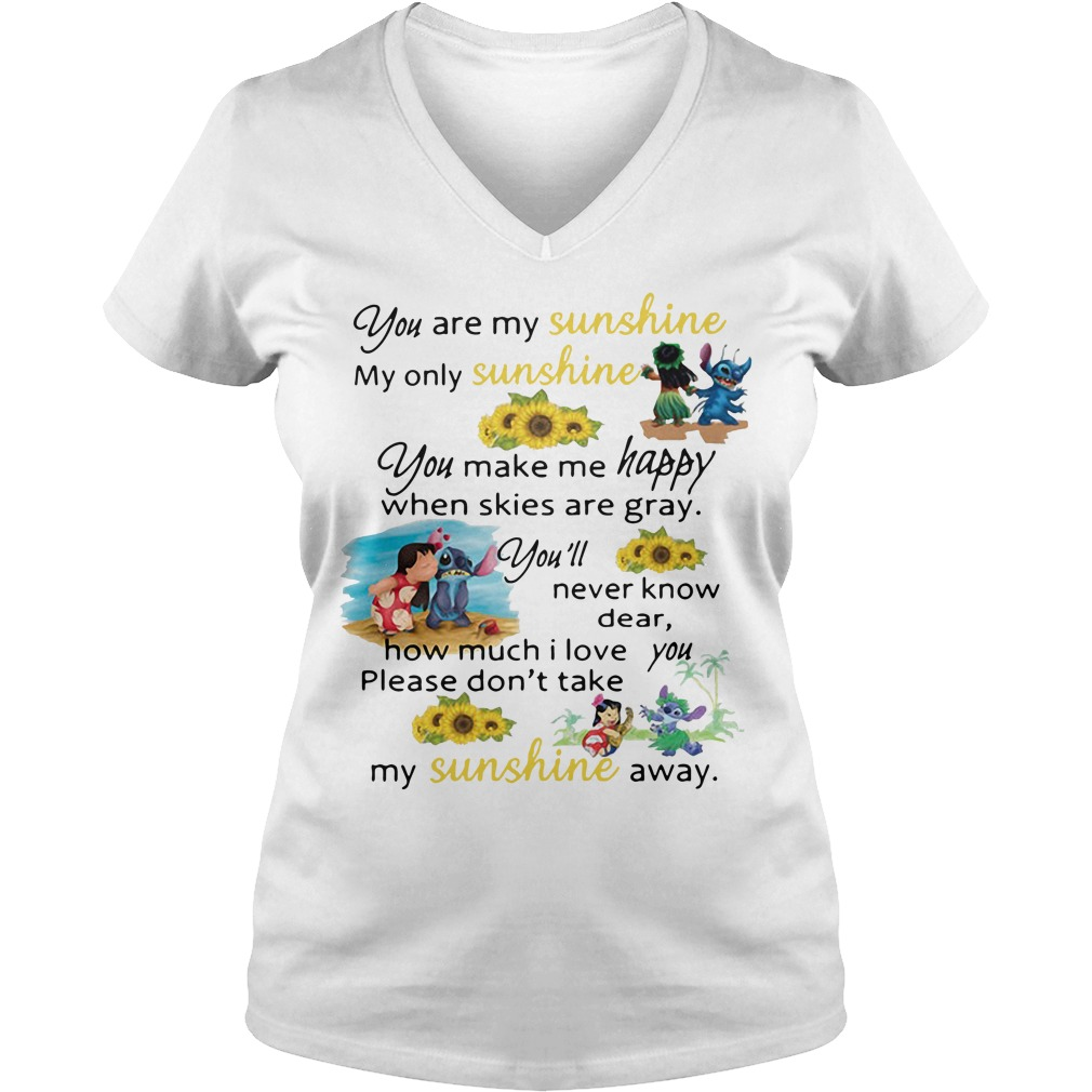 Stitch and Lilo Pelekai you are my sunshine my only sunshine V-neck T-shirt