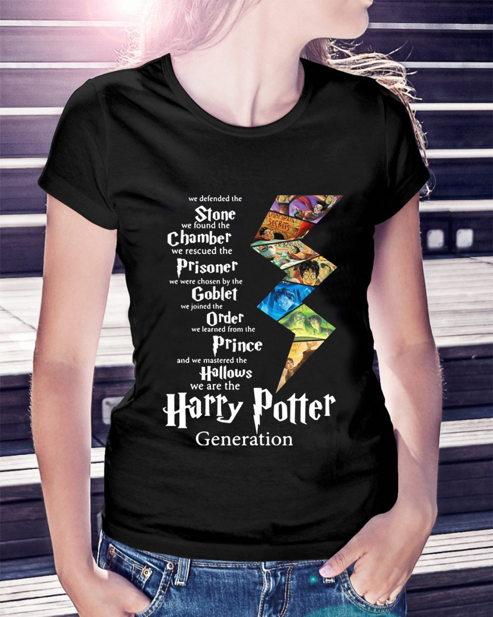 Stone Chamber Prisoner Goblet Order Prince Hallows Harry Potter Ladies Tee