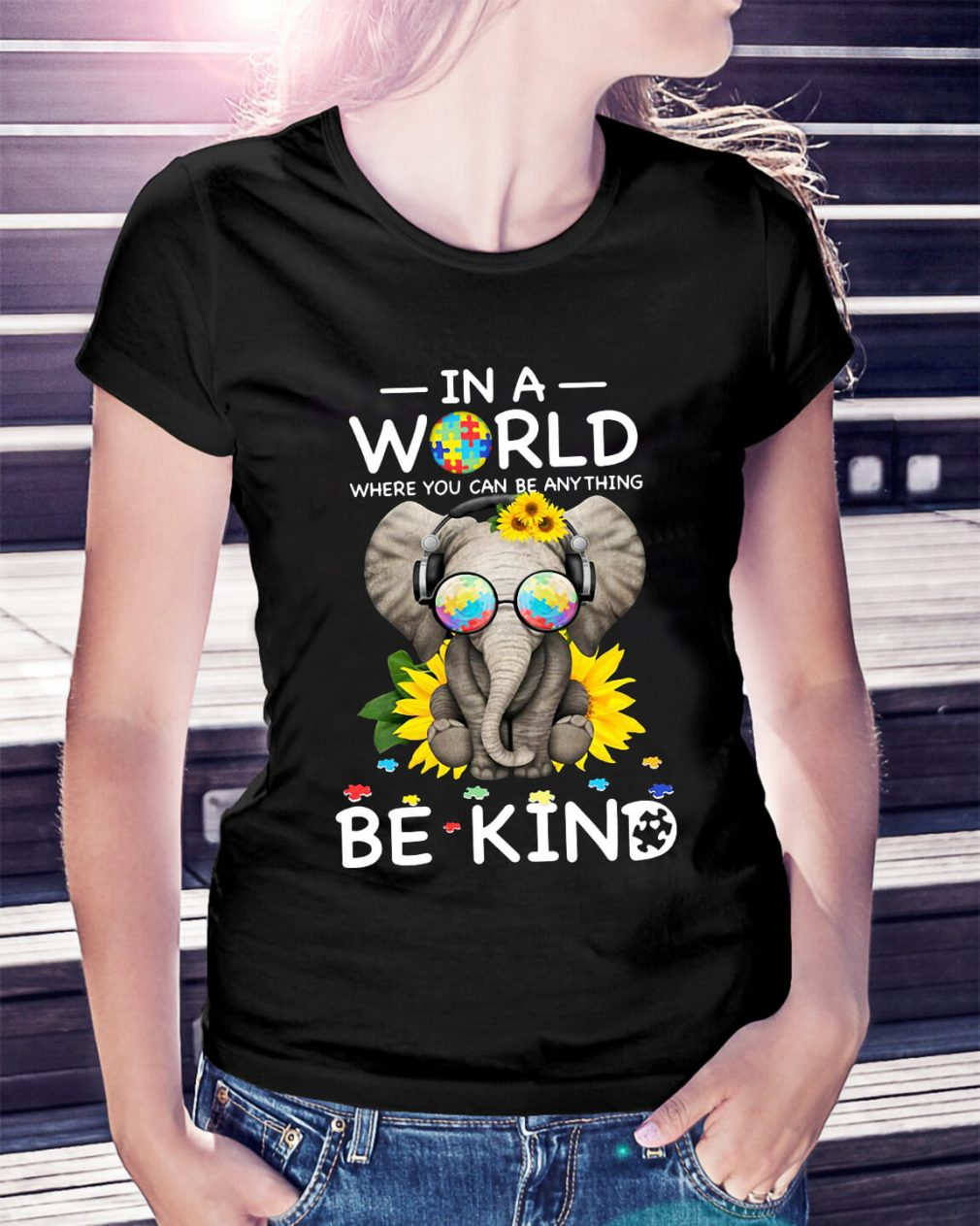 Sunflower autism elephant in a world where you can be anything be kind Ladies Tee