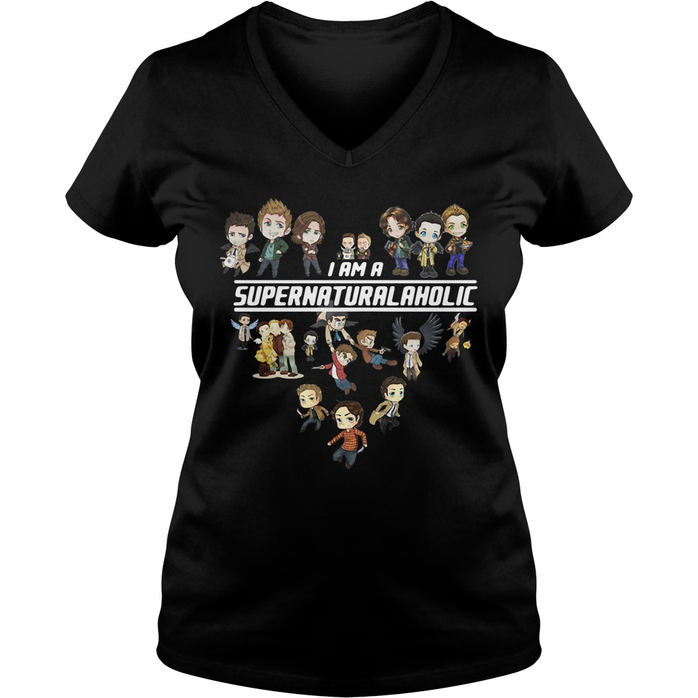 I am a Supernatural aholic V-neck T-shirt