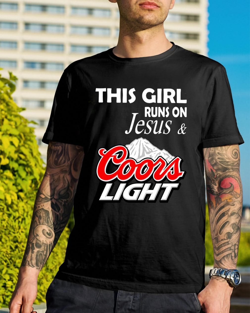 This girl runs on Jesus and Coors Light shirt