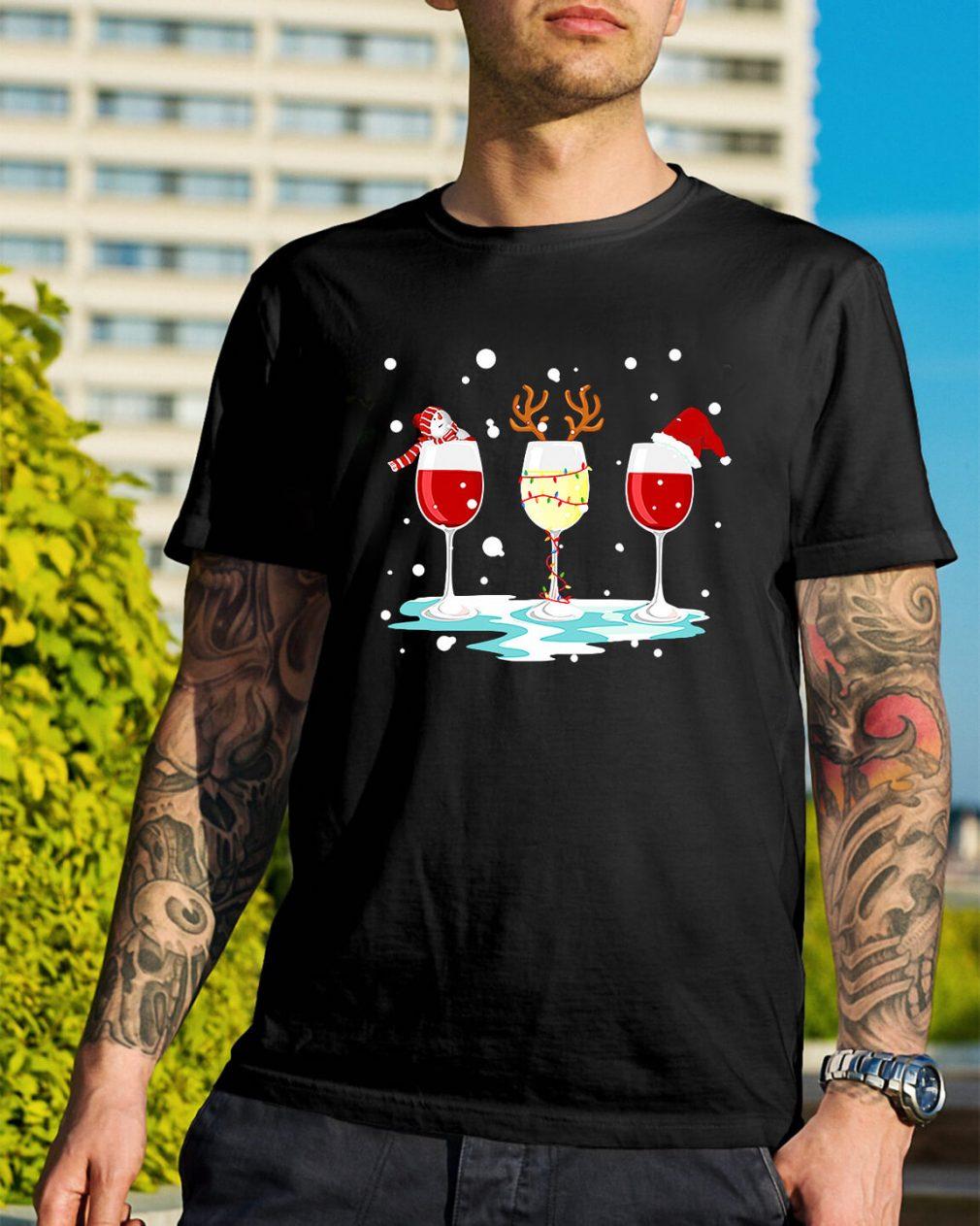 Three glasses of wine Christmas Guys Shirt