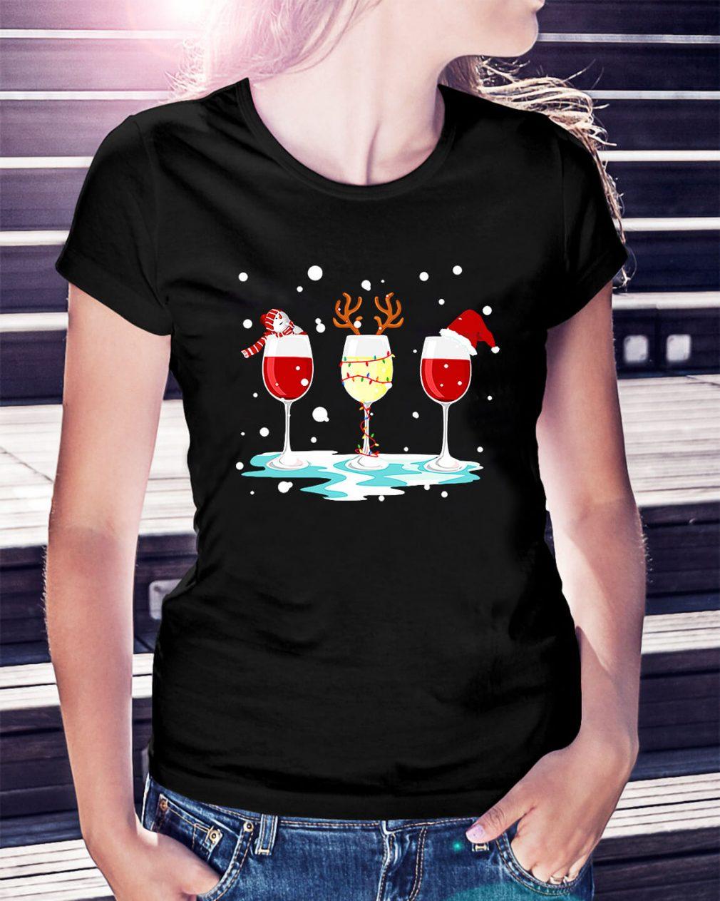Three glasses of wine Christmas Ladies Tee